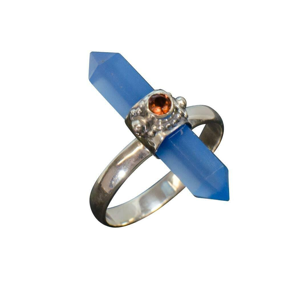 20% OFF Appointed Sky Chalcedony with Garnet Sterling Ring   Trada Marketplace