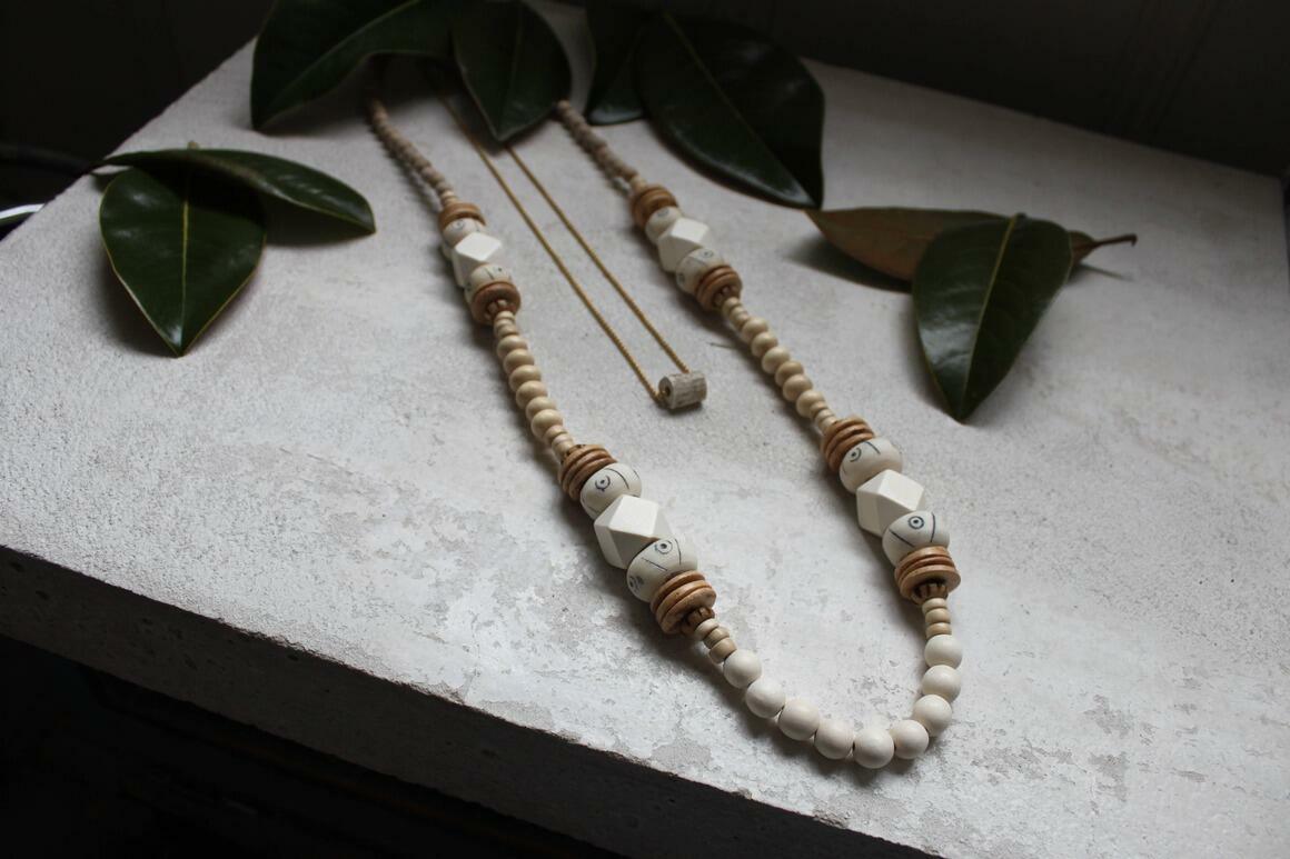 Wood + Bone Bead Statement Necklace. Boho Neutral White   Trada Marketplace