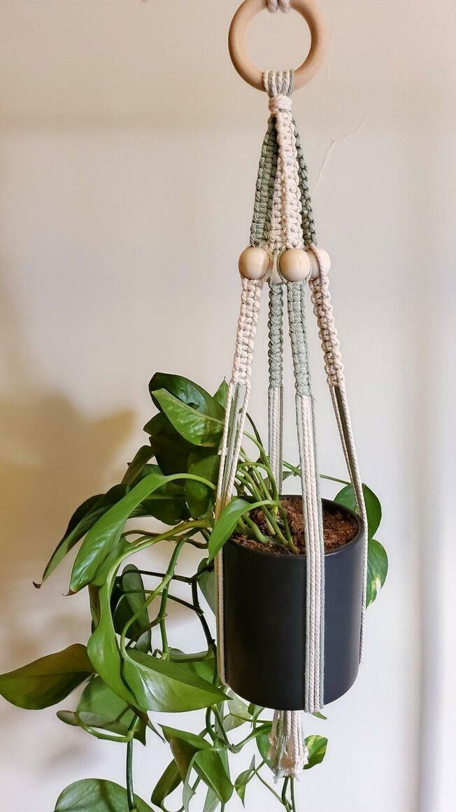 Color Block Macrame Plant Pot Hanger | Trada Marketplace