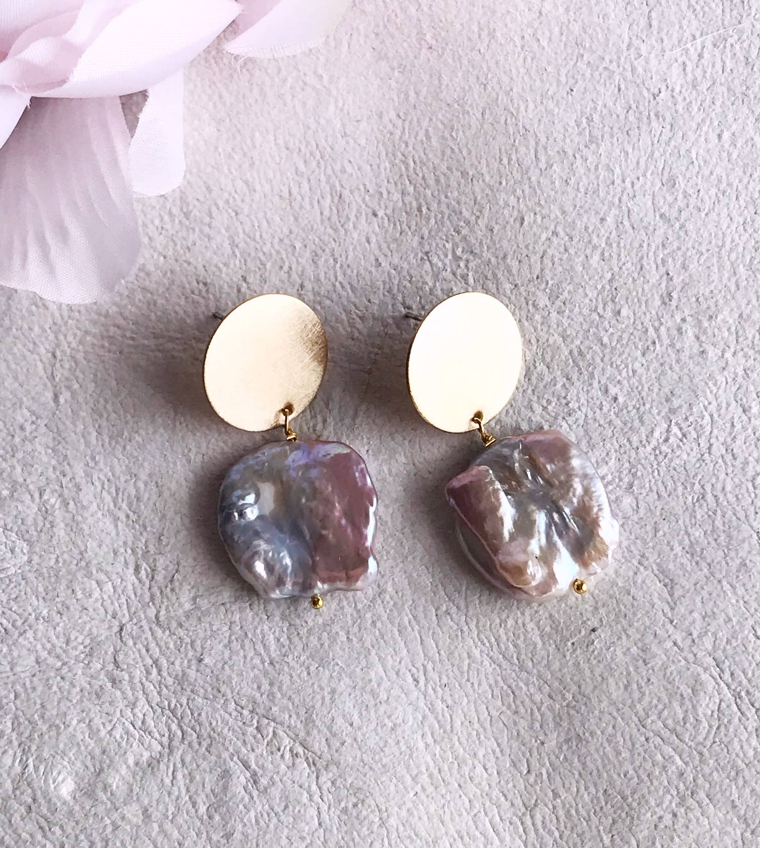 pearl coin earrings - brushed brass   Trada Marketplace