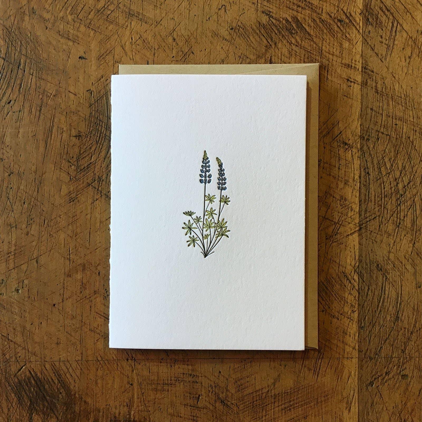 Lupine Wildflower Letterpress Card | Trada Marketplace