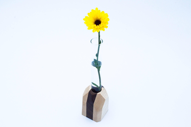 Geometric Vase Glass Wood | Trada Marketplace