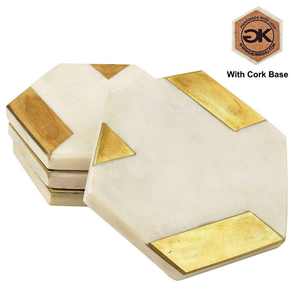 Zest White Marble Coasters (Set of 4)   Trada Marketplace
