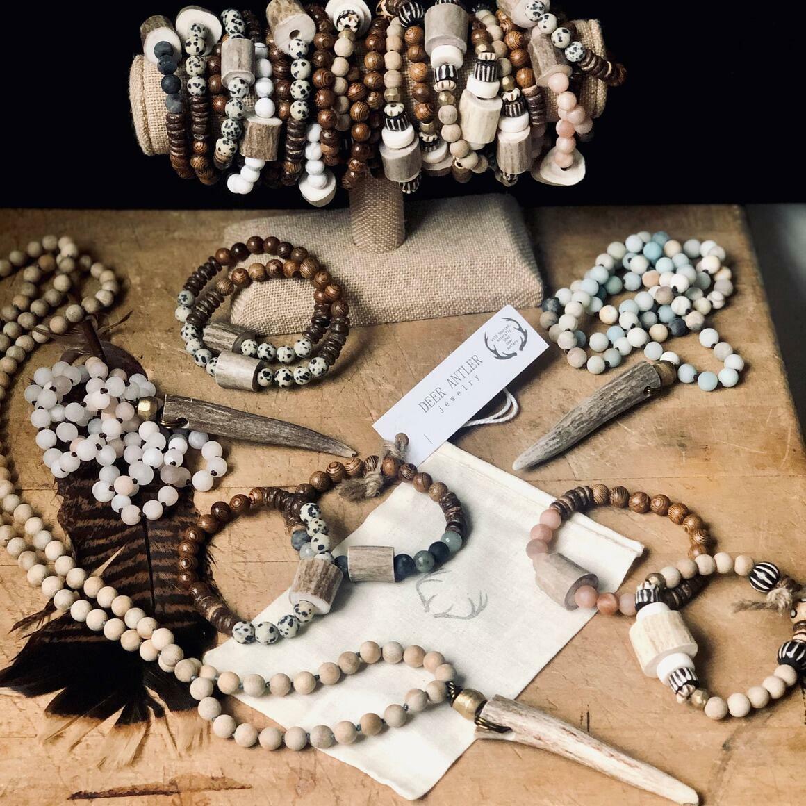 Deer Antler Bead and Gemstone Bracelet   Trada Marketplace