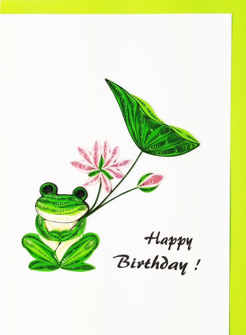 Happy Birthday Frog w/Lotus   Trada Marketplace