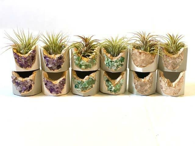 MIXED - Natural and White Crystal Geode Planter w Air Plant   Trada Marketplace