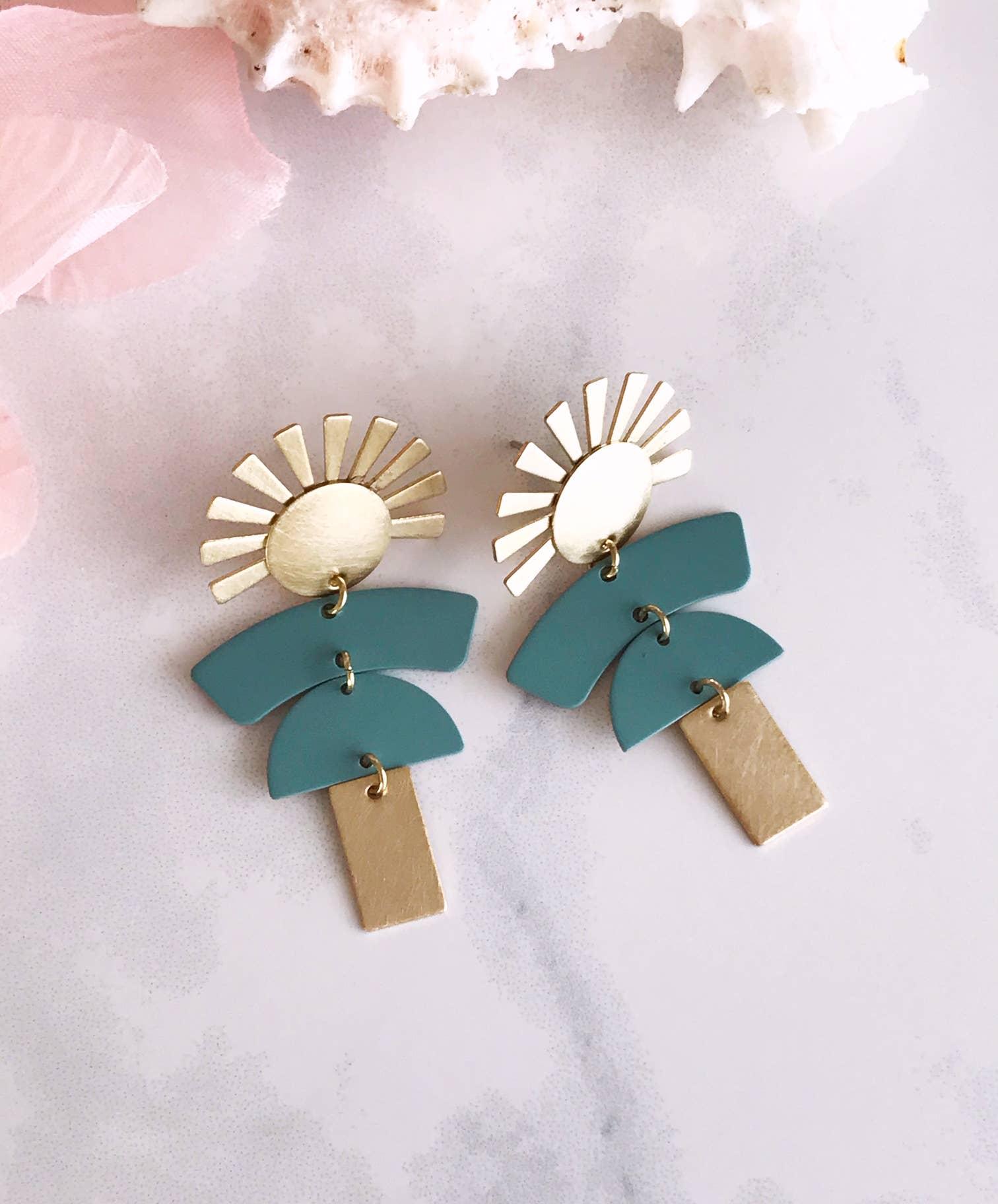 kachina doll earrings - brushed brass / sage   Trada Marketplace