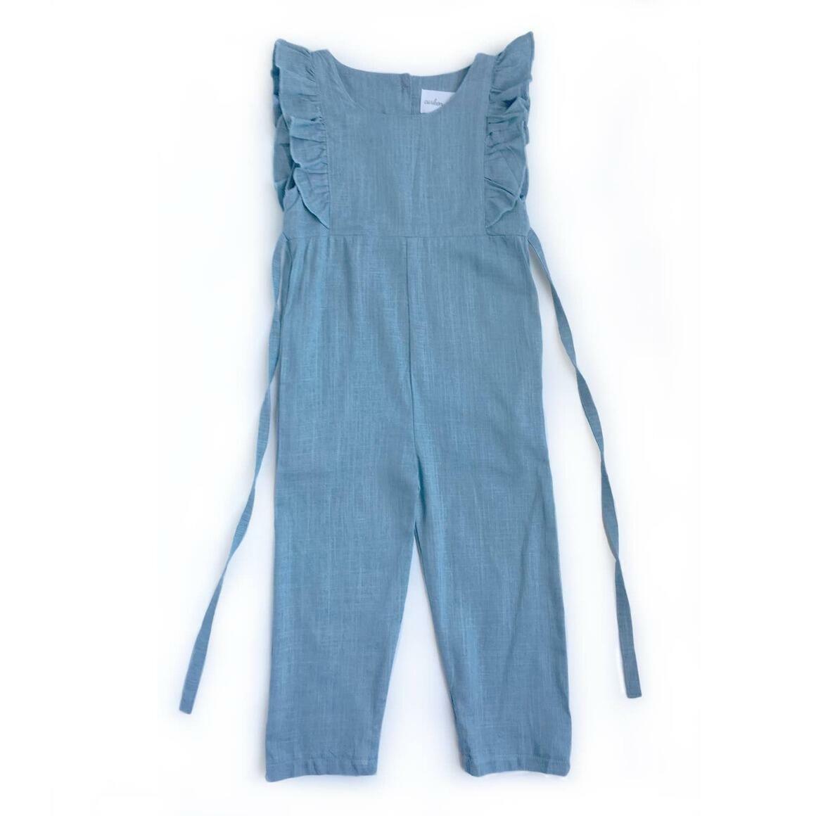 Medium Blue Linen Ruffle Romper with Pants - PREORDER | Trada Marketplace