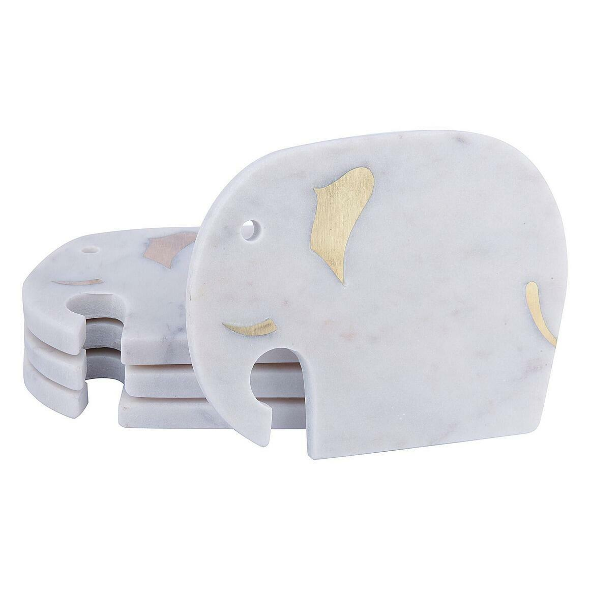 Haathi White Marble Coasters (Set of 4)   Trada Marketplace