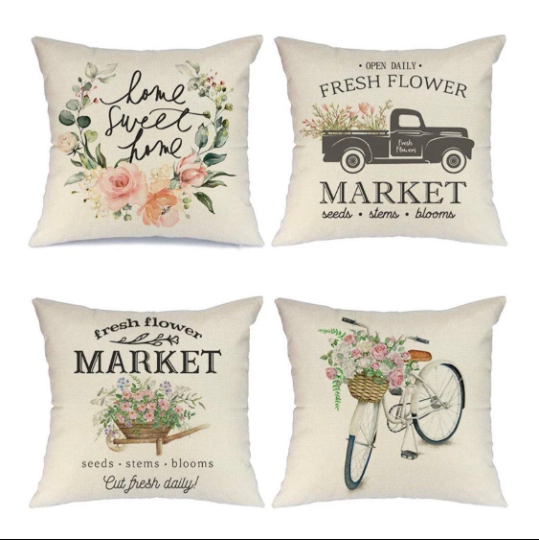 Spring throw pillow cover set of 4, 18x18 inch   Trada Marketplace