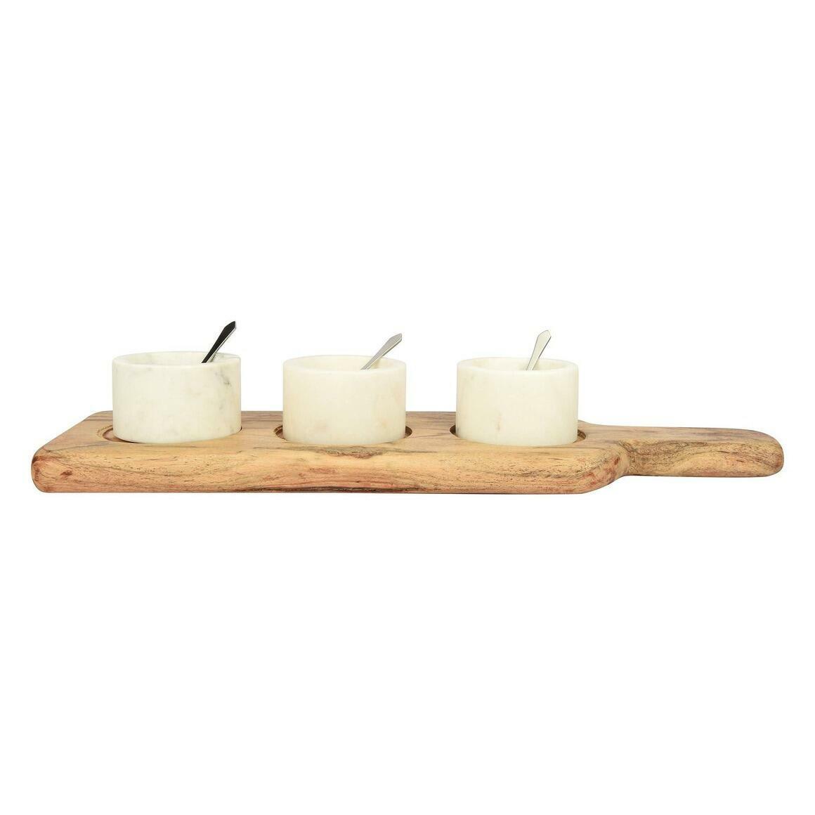 "Junia Marble Bowls on Wooden Platter (15""x4.75"")   Trada Marketplace"