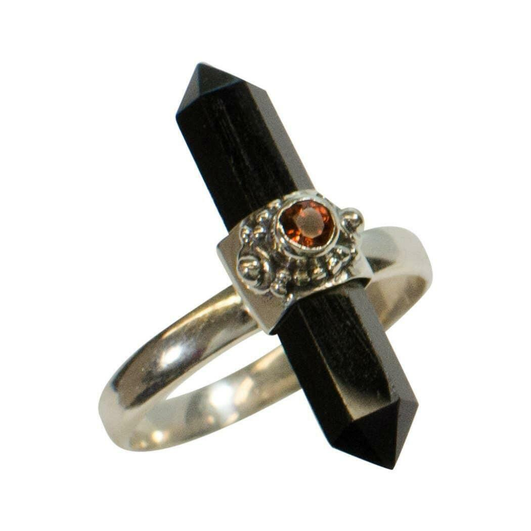 20% OFF Appointed Onyx Point With Garnet Sterling Ring   Trada Marketplace