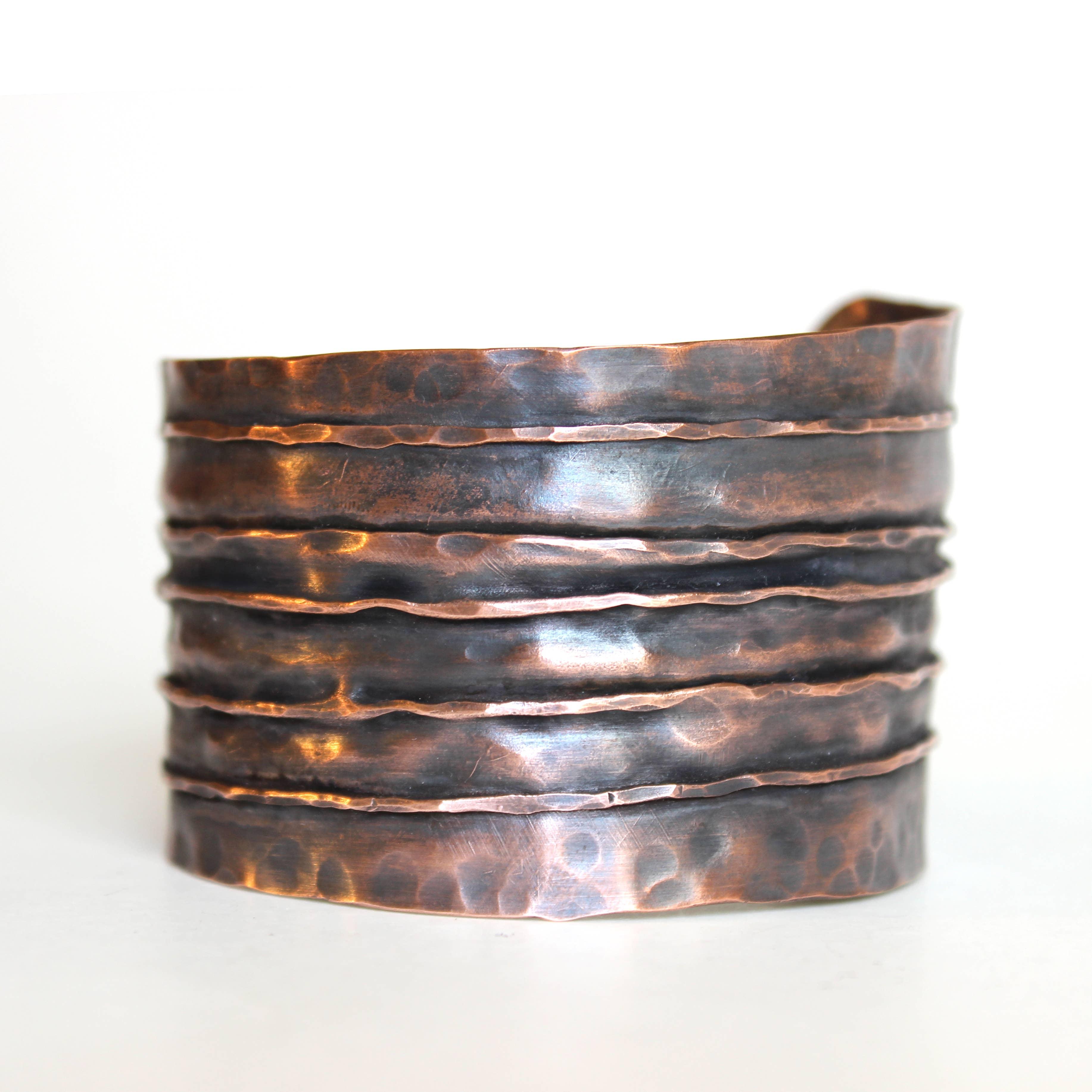 The Leather Wide Copper Cuff | Trada Marketplace