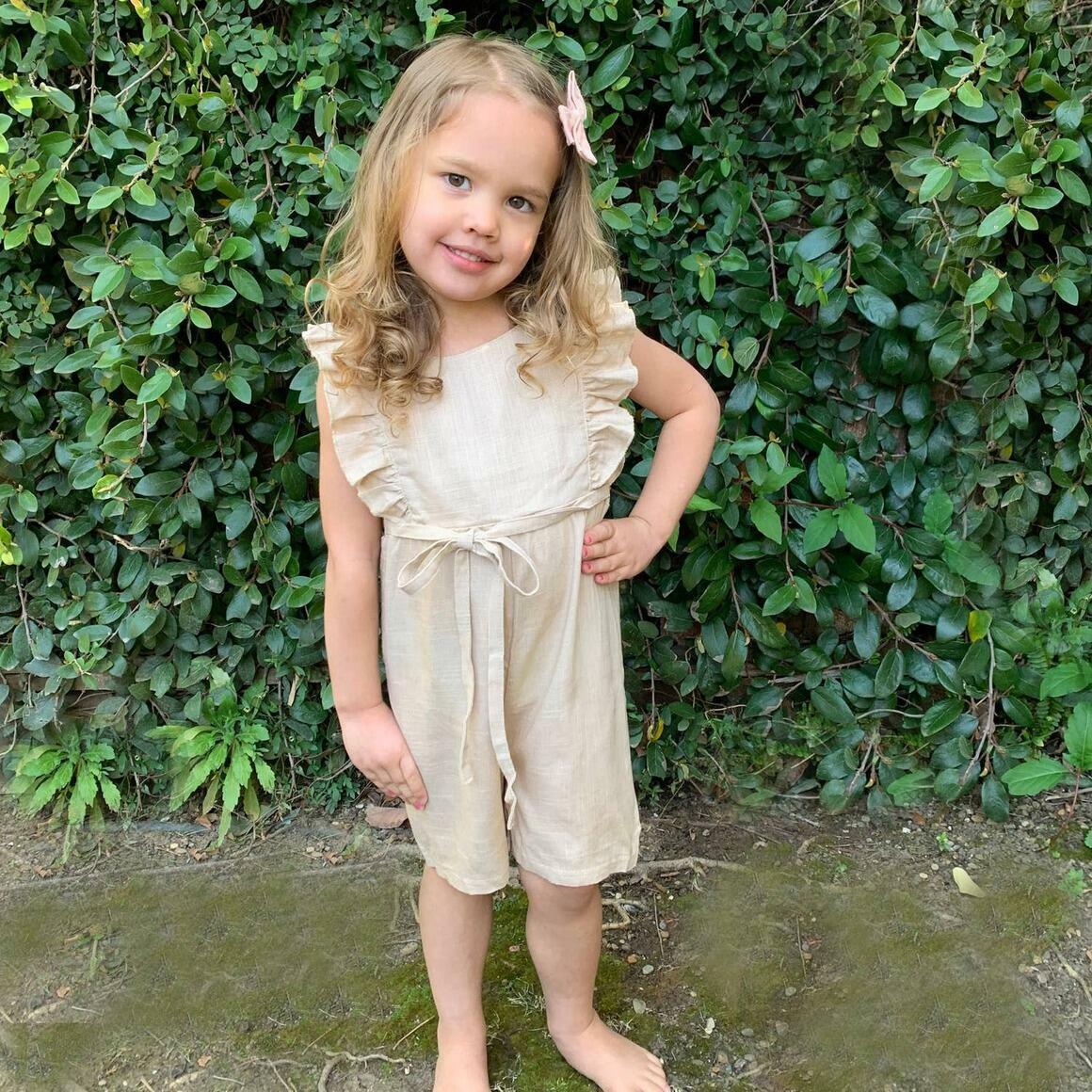 Tan Linen Ruffle Romper with Shorts | Trada Marketplace