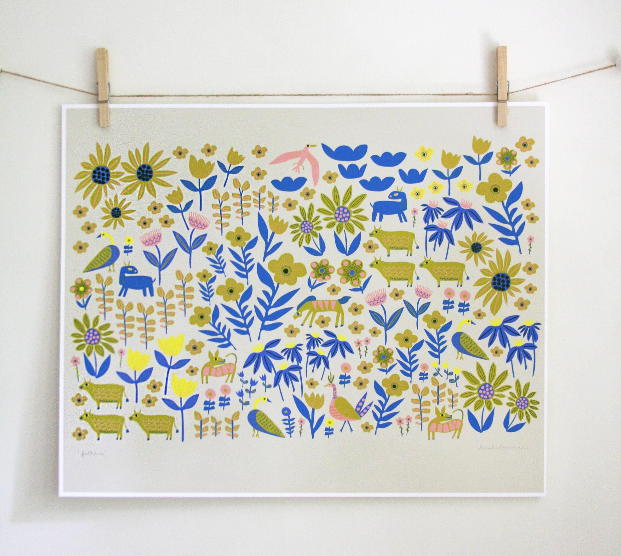 Folklore Blue Art Print | Trada Marketplace
