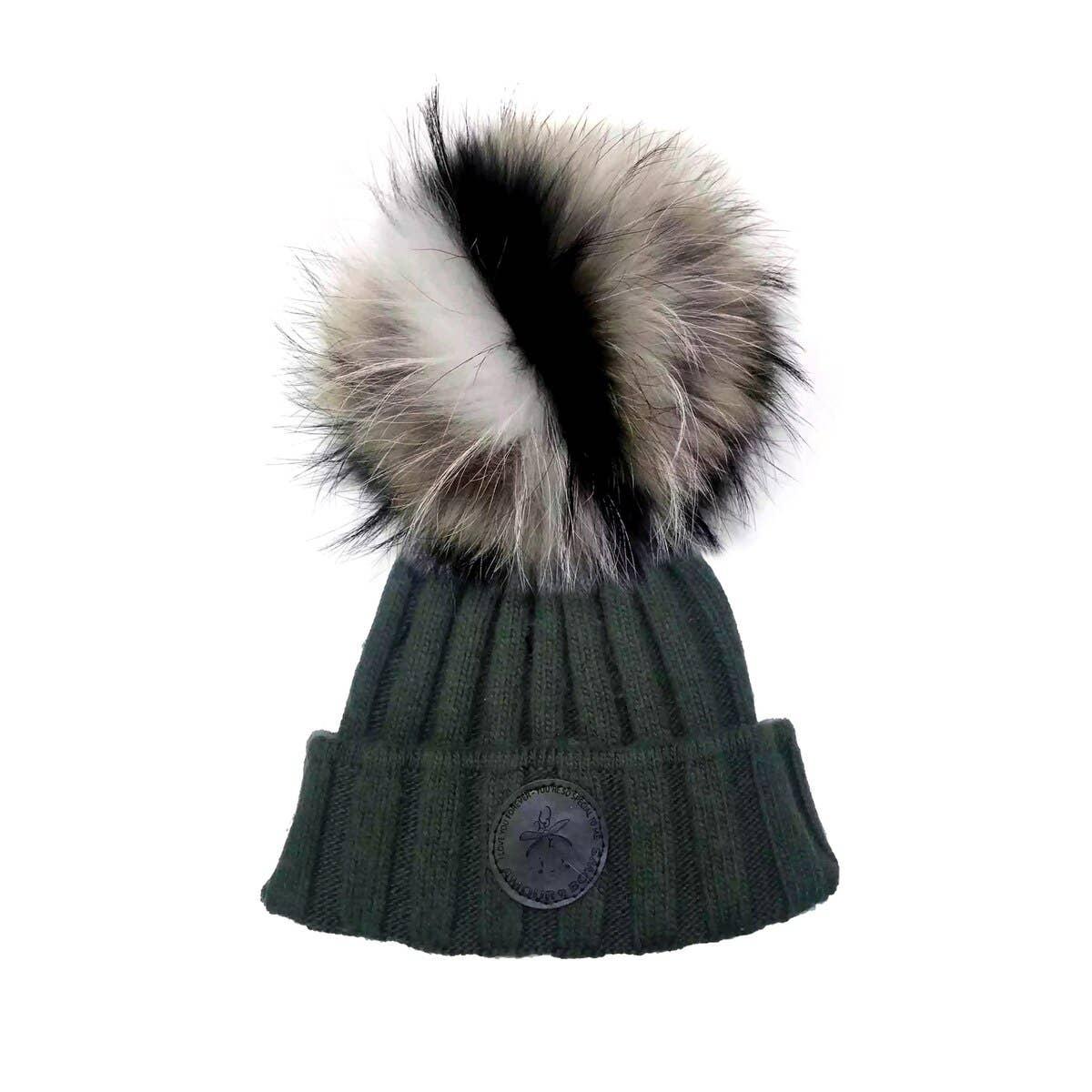 Game Face Olive Hat Natural Fur | Trada Marketplace