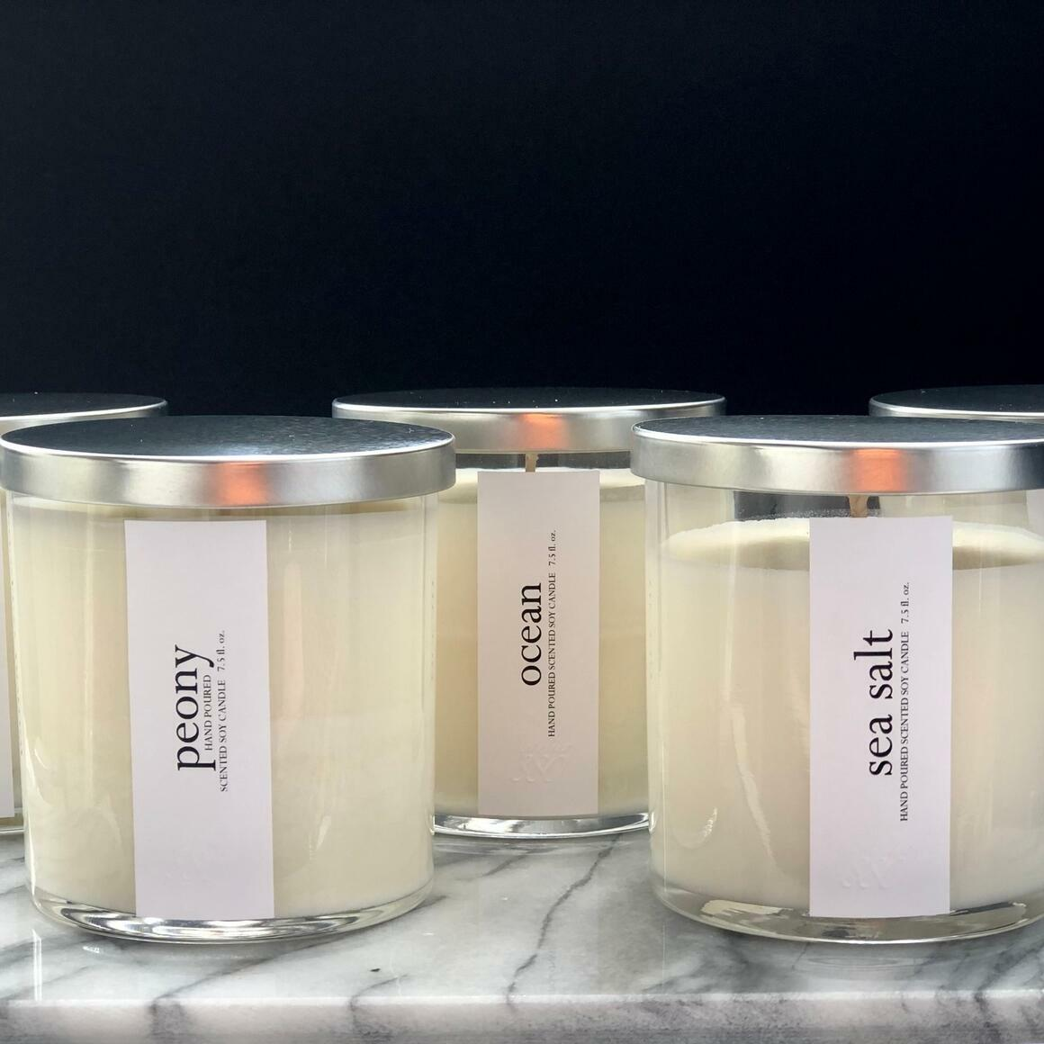 Minimalist Scented Candles - Clear Glass / Silver Metal Lid | Trada Marketplace