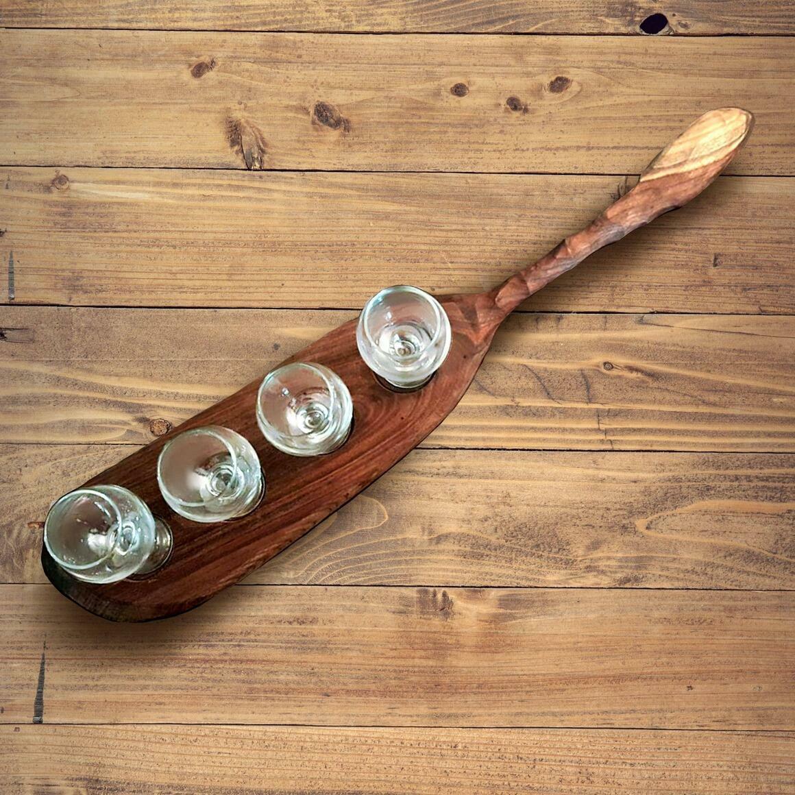"Beer Flight, Carved Handle 4 Glass Holder - Maple 3"" Diameter Glass | Trada Marketplace"
