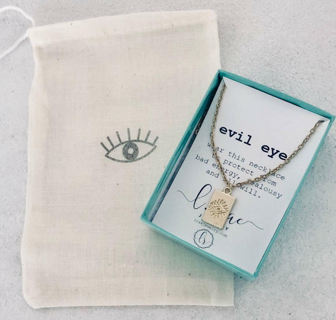 Evil Eye Tag Mini Tiny Charm Necklace. Layering.   Trada Marketplace