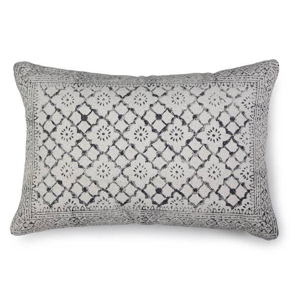 Sikar Block Print Lumbar Pillow, Natural - 16x23 inch   Trada Marketplace
