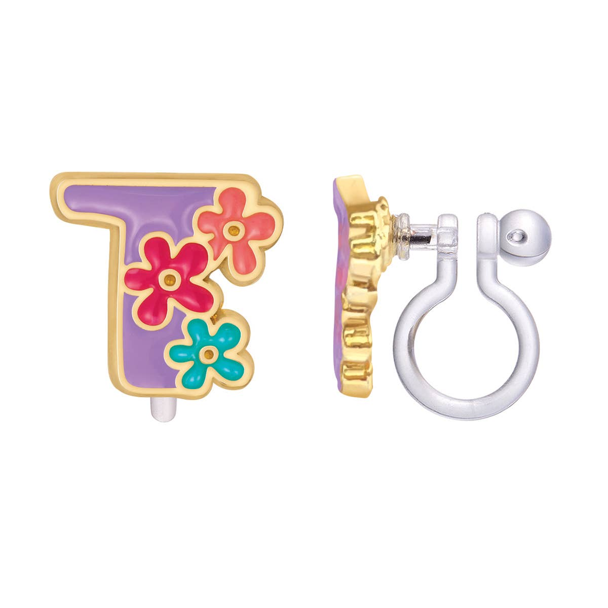 CLIP ON Cutie Initial Earrings- T | Trada Marketplace