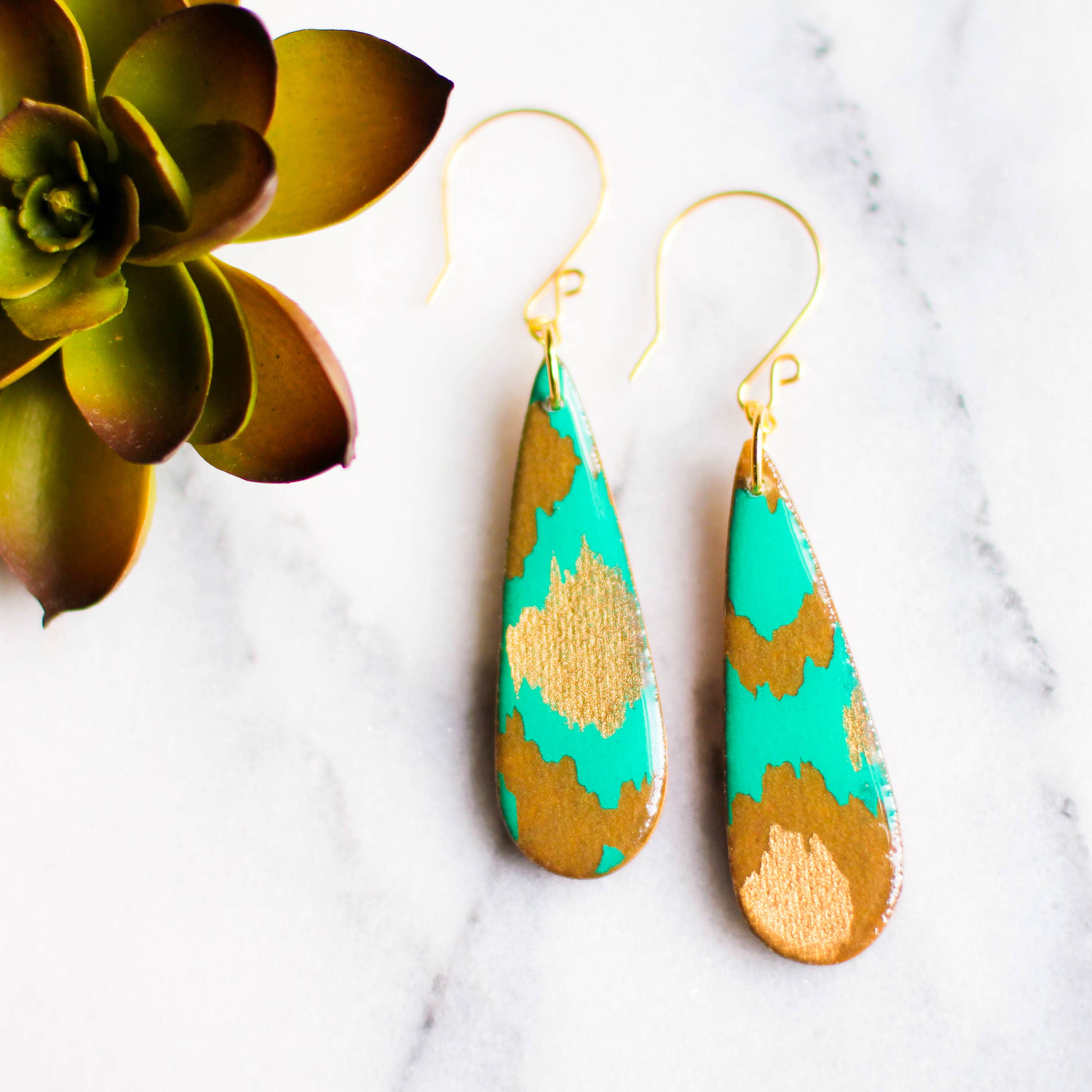 Teardrop Teal And Gold Indian Paper Earrings   Trada Marketplace