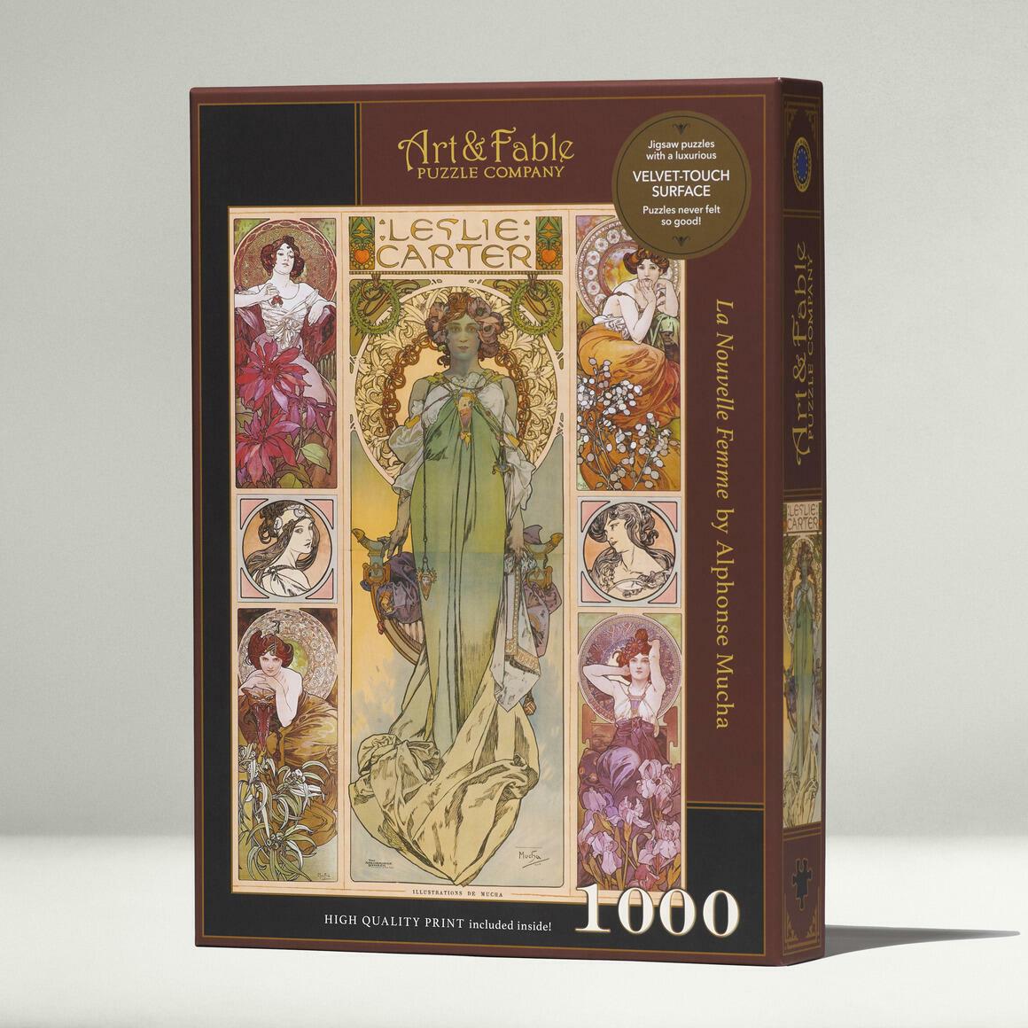 La Nouvelle Femme, 1000-pc Velvet-Touch Jigsaw Puzzle, art by Alphonse Mucha | Trada Marketplace