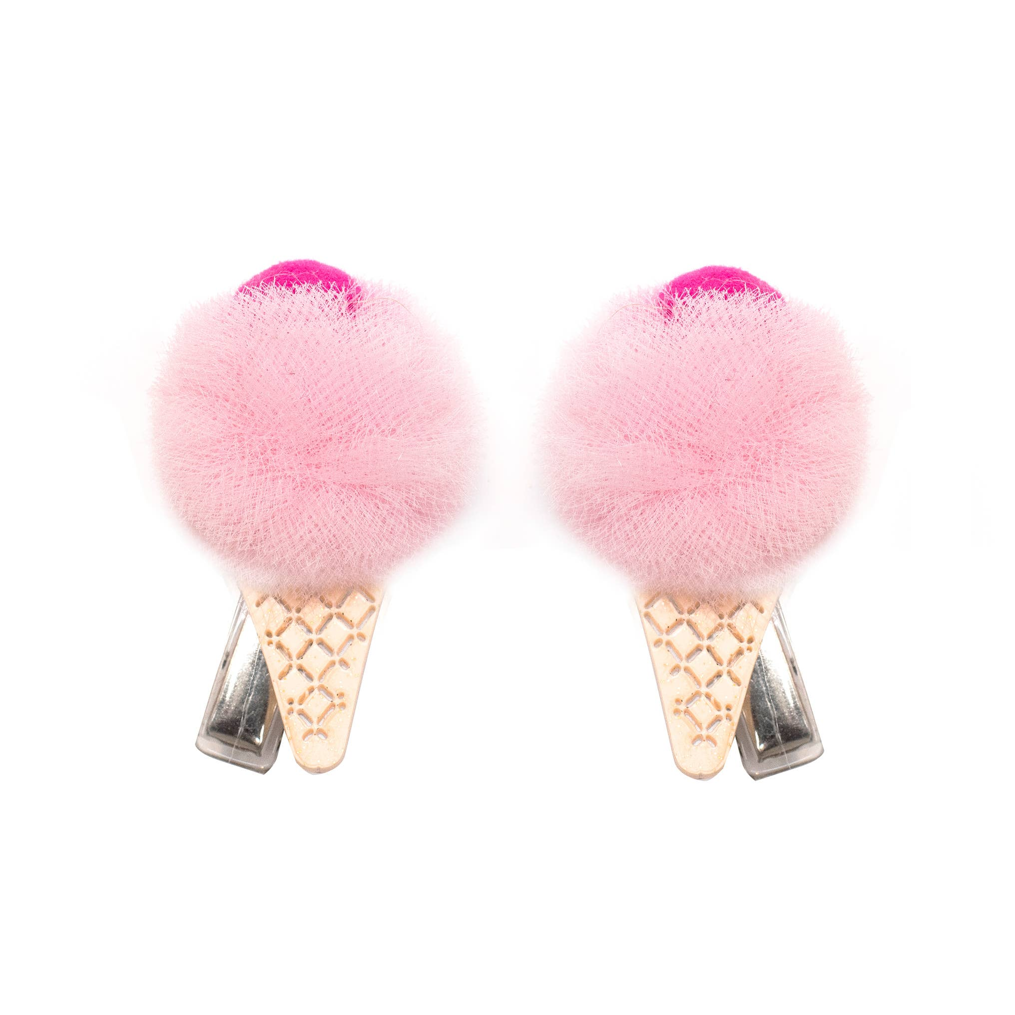 Ice Cream Pompom - LT Pink - Alligator Clip   Trada Marketplace