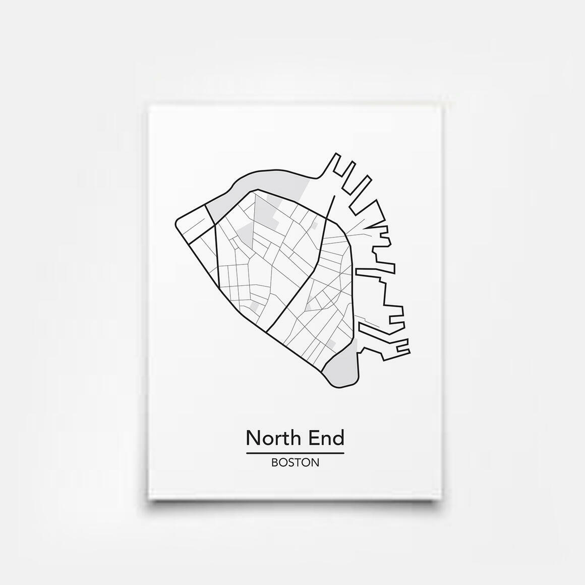 North End - Boston Neighborhood Map Print | Trada Marketplace