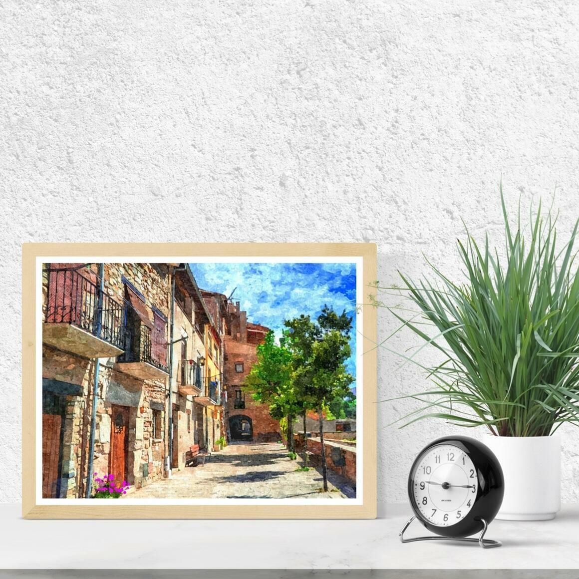 """Colorful Village Street"" Fine Art Print | Trada Marketplace"