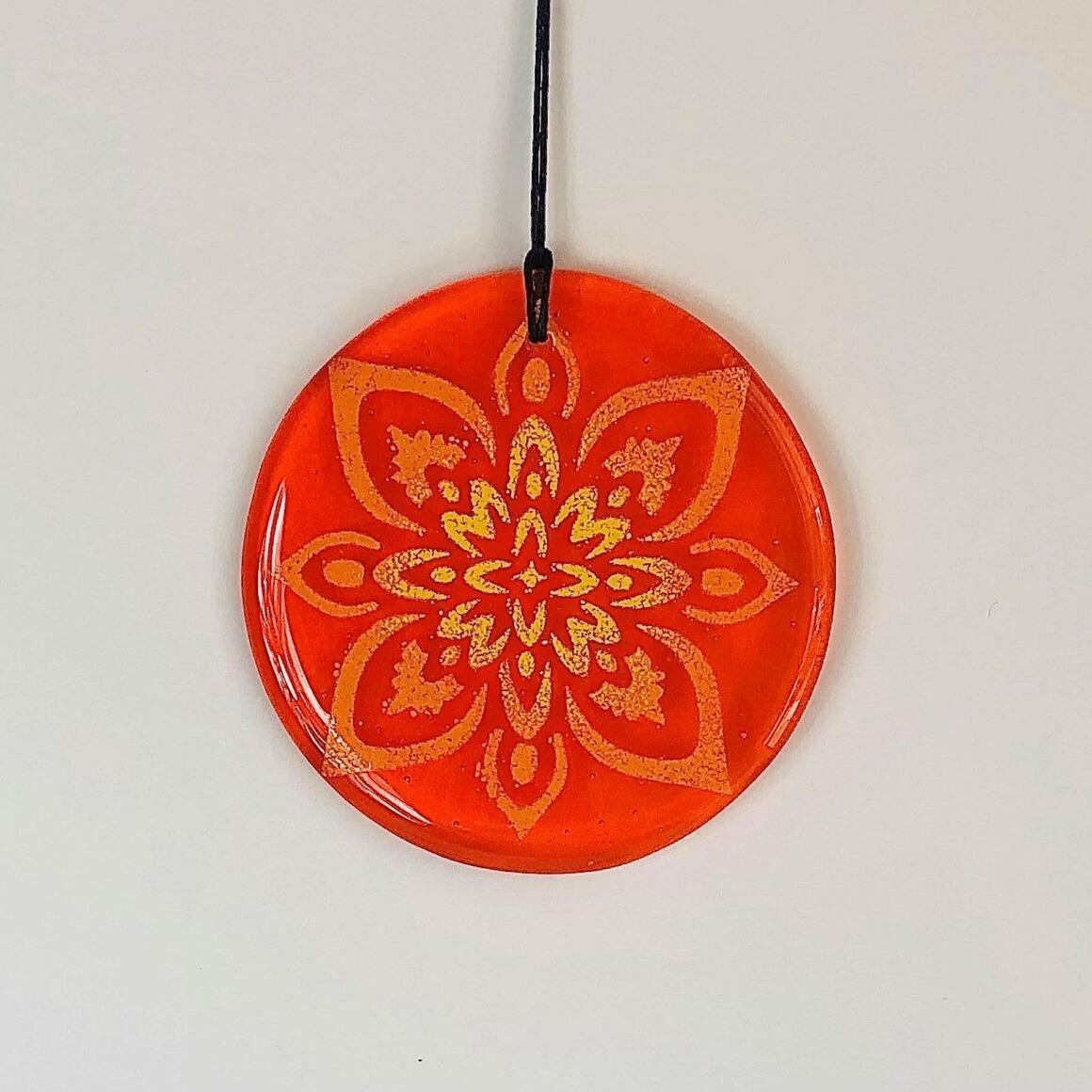 Glass Mandala Window Ornament Suncatcher  - Bright Orange | Trada Marketplace