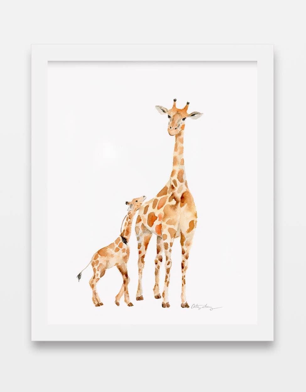 Giraffe Mother and Baby Watercolor Art Print | Trada Marketplace