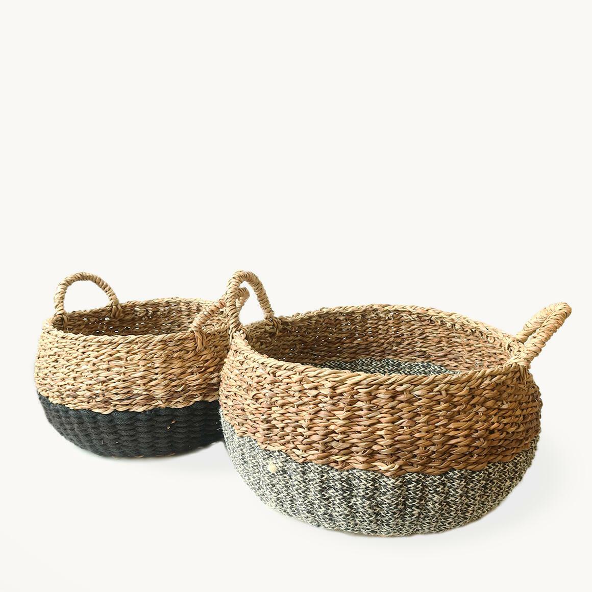 Ula Floor Basket - Black (Set of 2) | Trada Marketplace