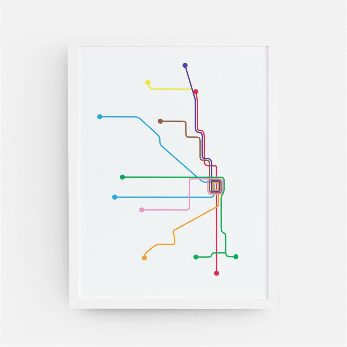 Chicago Rapid Transit Map Print | Trada Marketplace
