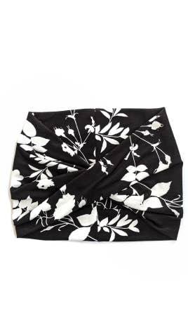 Black + White Floral- Wide Headband | Turban | Twist | Yoga | Trada Marketplace