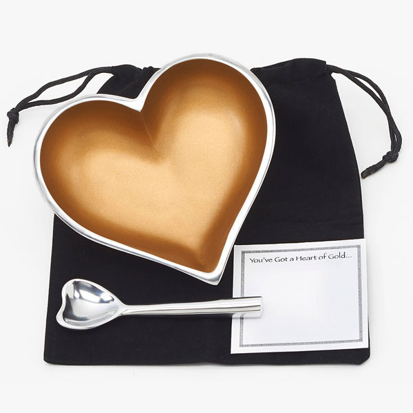 Heart of Gold with Heart Spoon, Velvet Bag and Note Card   Trada Marketplace