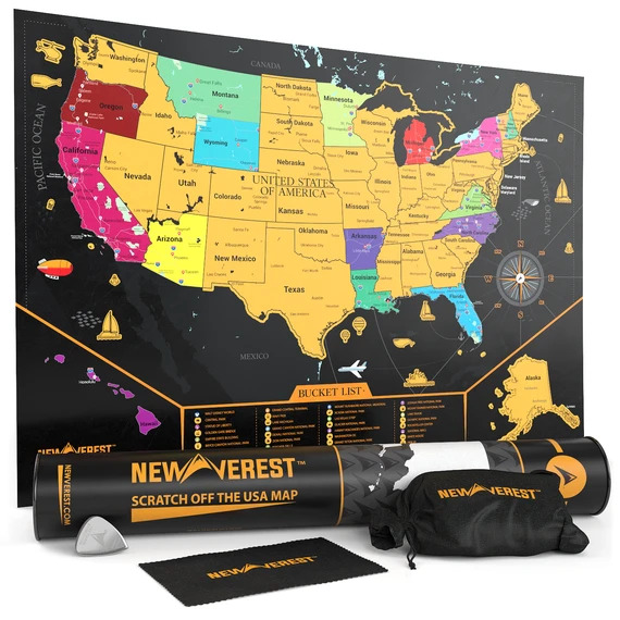 "Newverest Scratch Off USA Map 24"" x 17"" | Trada Marketplace"