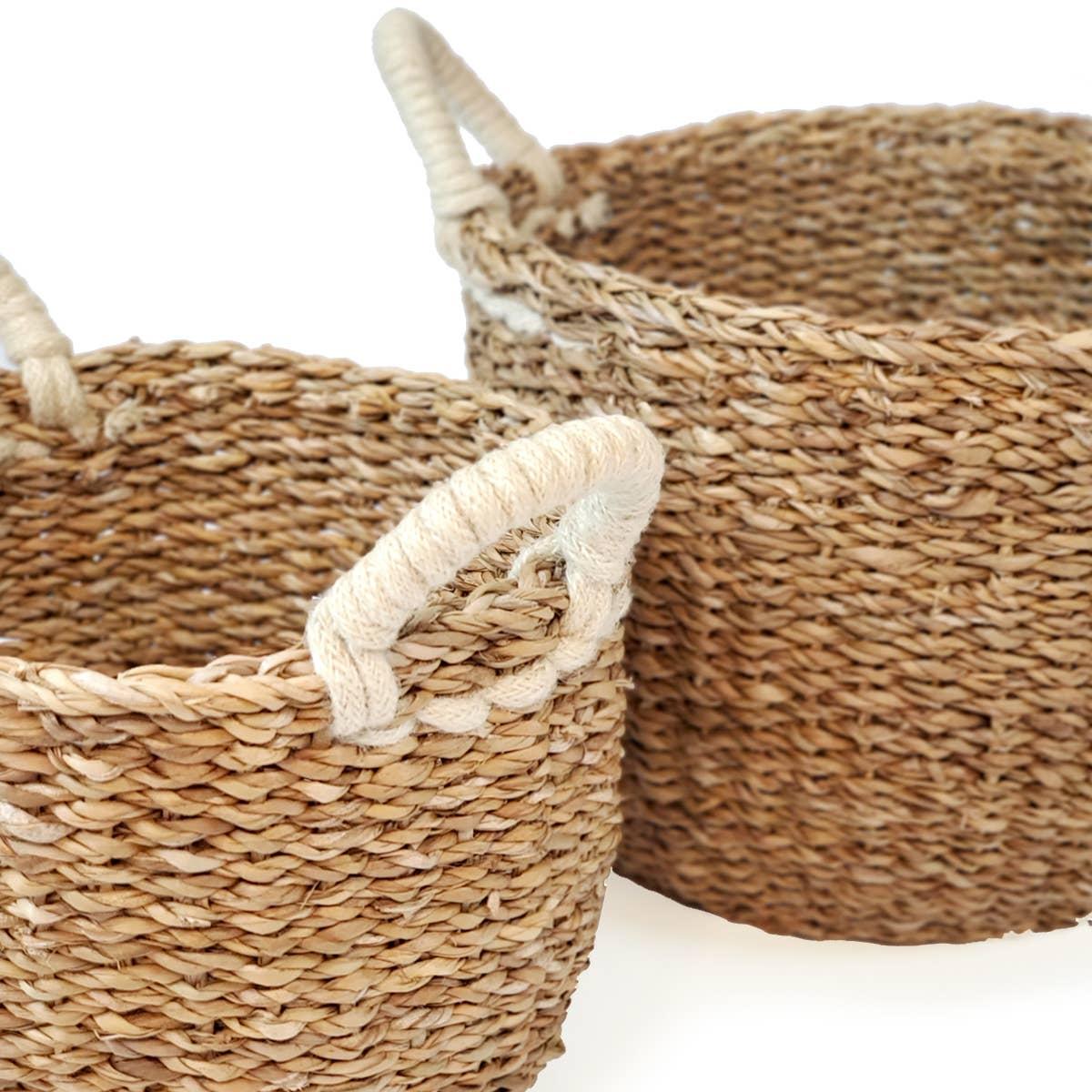 Savar Basket with White Handle (Set of 2)   Trada Marketplace