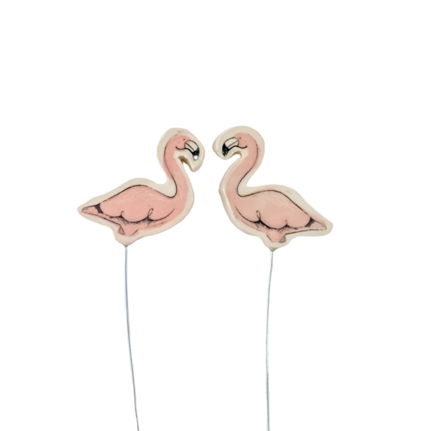 Small Flamingo Stakes, Set of Two/ Houseplant Lover Gifts   Trada Marketplace