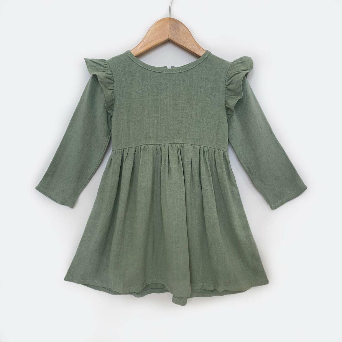 Green Linen Dress with Long & Flutter Sleeves | Trada Marketplace