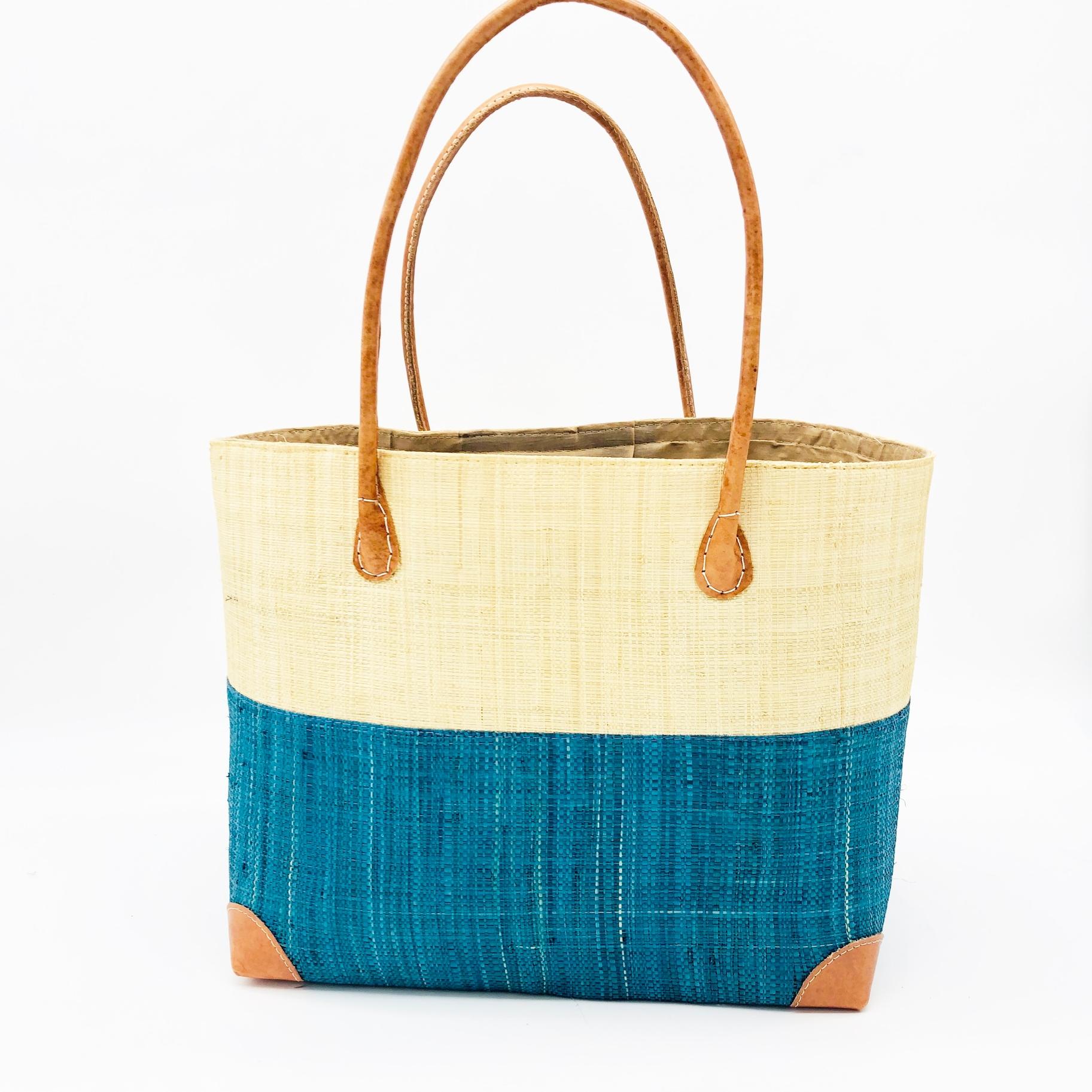 Trinidad Two Tone Straw Basket - Aqua | Trada Marketplace