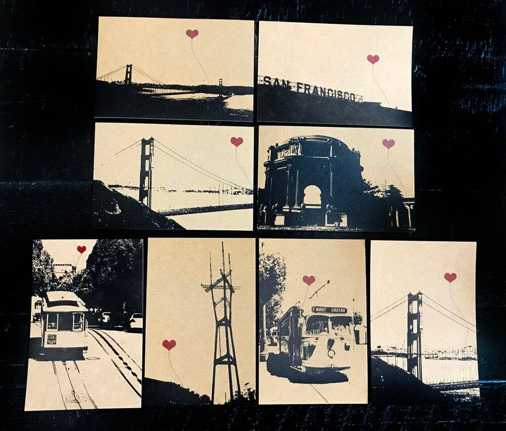 San Francisco Assorted Set of 8 Postcards | Trada Marketplace