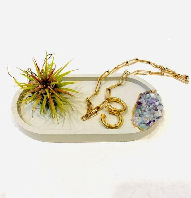 Concrete Jewelry Tray with Fluorite Crystals   Trada Marketplace