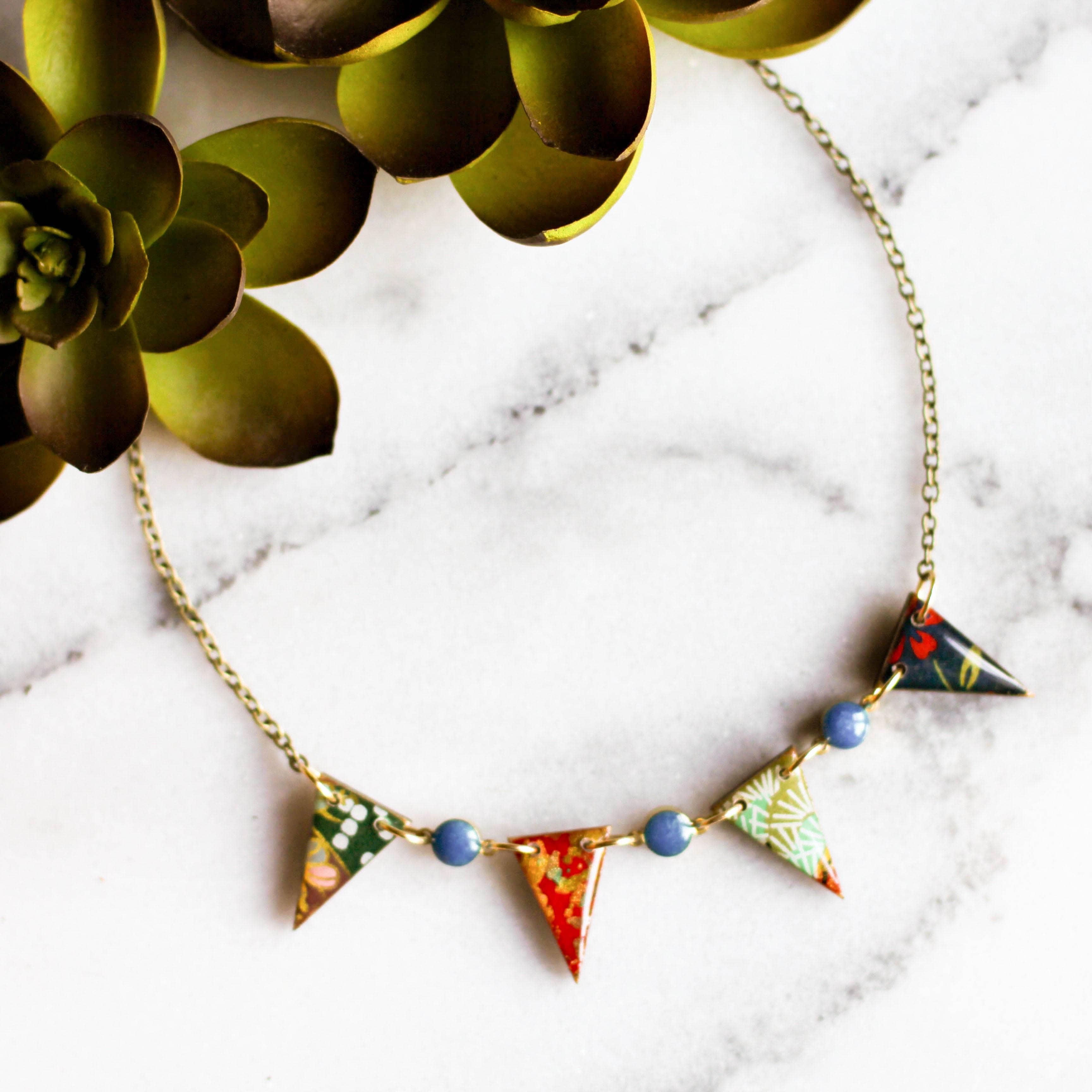 Japanese  Pennant Necklace - Turquoise   Trada Marketplace