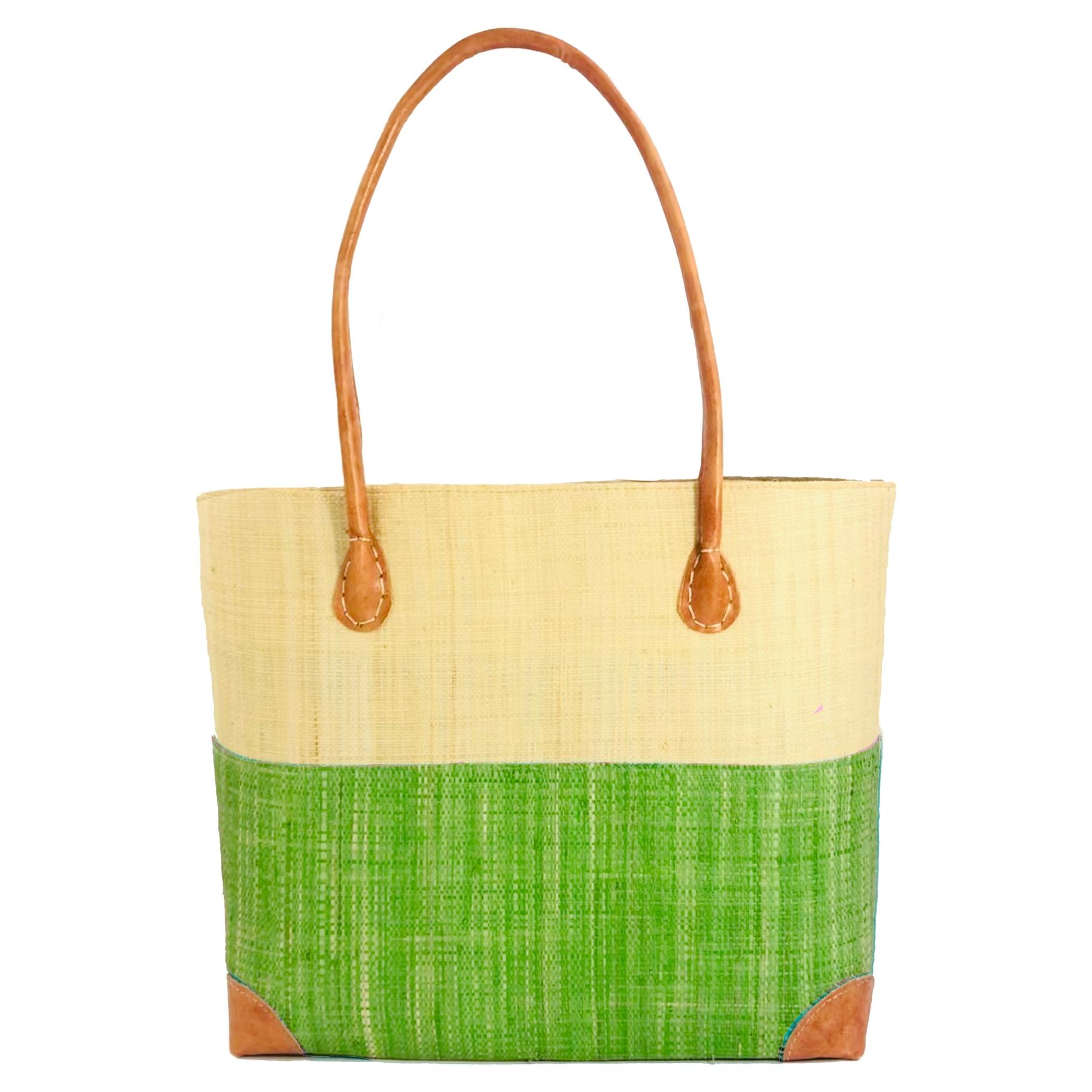 Trinidad Two Tone Straw Basket - Lime | Trada Marketplace