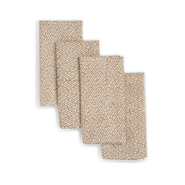 GOLDEN STAR Napkin  (set of 4), Hand Block Printed Cotton | Trada Marketplace