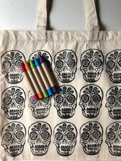 Sugar Skull: CYO Market Tote Kit With Eco-Friendly Crayons | Trada Marketplace