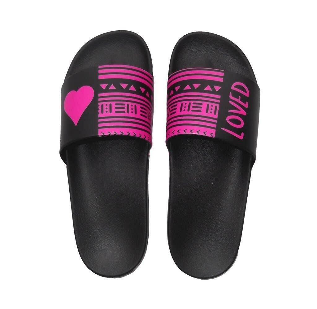 Pink/black Loved Ethnic Slide Sandals | Trada Marketplace