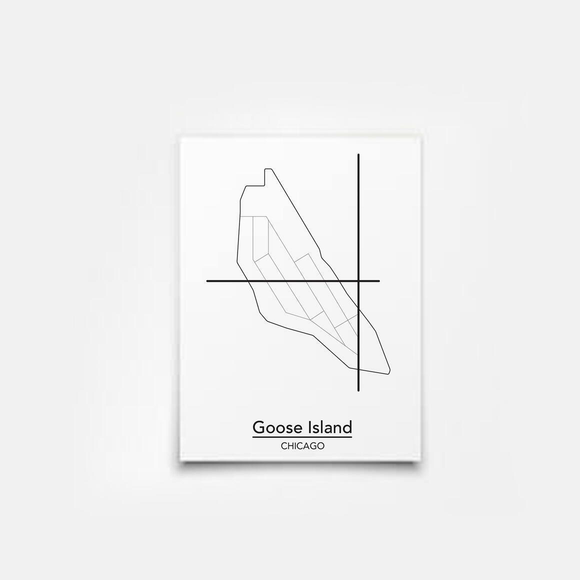 Goose Island - Chicago Neighborhood Map Print   Trada Marketplace