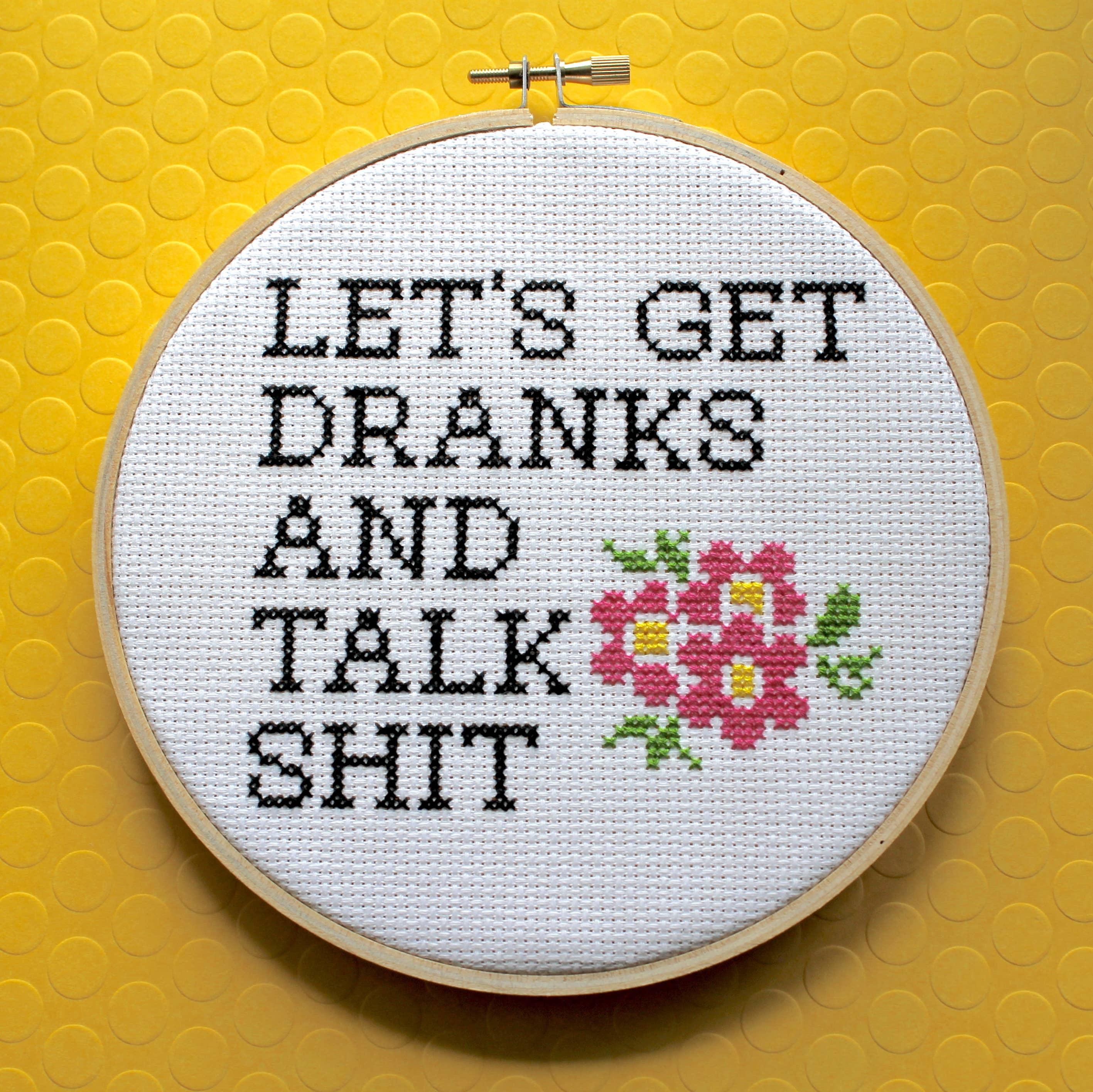Let's Get Dranks Cross Stitch Kit   Trada Marketplace